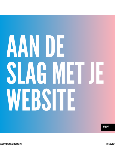 Begin met je website
